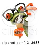 Clipart Of A 3d Bespectacled Green Springer Frog Holding A Waffle Ice Cream Cone Around A Sign Royalty Free Illustration