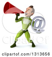 Clipart Of A 3d Young Brunette White Male Super Hero In A Green Suit Holding An Email Arobase And Announcing To The Left With A Megaphone Royalty Free Illustration