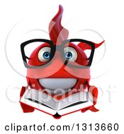 3d Bespectacled Red Fish Holding An Open Book