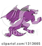 Clipart Of A Cartoon Purple Angry Kludde Wolf Dog With Bat Wings Royalty Free Vector Illustration