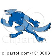 Cartoon Tough Blue Wolf Dog Holding Up A Fist And Facing Left