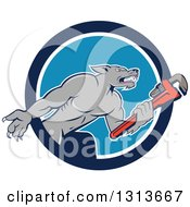 Cartoon Wolf Plumber Mascot Facing Right And Holding A Monkey Wrench Emerging From A Blue And White Circle