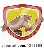 Clipart Of A Cartoon Wolf Plumber Mascot Facing Right And Holding A Monkey Wrench Emerging From A Red Black White And Yellow Shield Royalty Free Vector Illustration