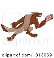 Cartoon Wolf Plumber Mascot Facing Right And Holding A Monkey Wrench