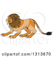 Clipart Of A Cartoon Angry Male Lion Crouching Royalty Free Vector Illustration