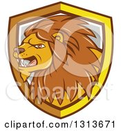 Clipart Of A Cartoon Angry Male Lion In A Yellow White And Gray Shield Royalty Free Vector Illustration by patrimonio