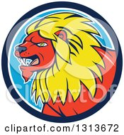 Clipart Of A Cartoon Red Male Lion With A Yellow Mane In A Blue And White Circle Royalty Free Vector Illustration by patrimonio