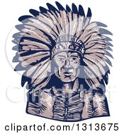 Sketched Or Engraved Native American Indian Chief Wearing A Feather Headdress