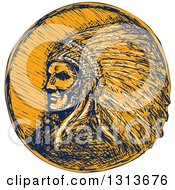 Sketched Or Engraved Native American Indian Chief Wearing A Feather Headdress In Navy Blue And Orange