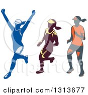 Clipart Of Retro Female Marathon Runners Royalty Free Vector Illustration