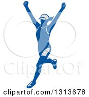 Clipart Of A Retro Cheering Female Marathon Runner In Gray And Blue Royalty Free Vector Illustration by patrimonio