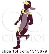 Clipart Of A Retro Female Marathon Runner In Yellow And Purple Royalty Free Vector Illustration