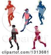 Clipart Of Retro Male Marathon Runners Royalty Free Vector Illustration