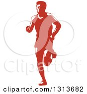 Retro Male Marathon Runner In Red And White