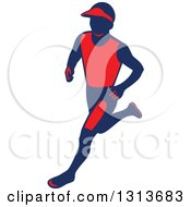 Retro Male Marathon Runner In Red And Navy Blue