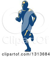 Clipart Of A Retro Male Marathon Runner In Yellow And Blue Royalty Free Vector Illustration by patrimonio