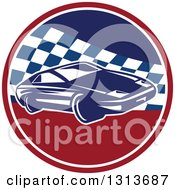 Clipart Of A Retro Sports Race Car In A Red White And Blue Checkered Circle Royalty Free Vector Illustration