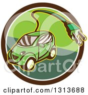 Clipart Of A Retro Cartoon Hybrid Electric Car With A Plug In A Brown And Green Circle Royalty Free Vector Illustration