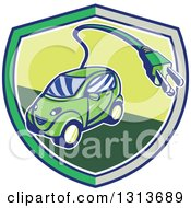 Retro Cartoon Hybrid Electric Car With A Plug In A Gray And Green Shield