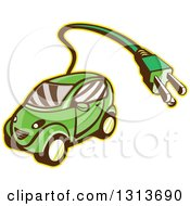 Clipart Of A Retro Cartoon Hybrid Electric Car With A Plug Royalty Free Vector Illustration