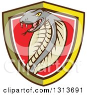 Clipart Of A Cartoon Cobra Snake In A Yellow Black White And Red Shield Royalty Free Vector Illustration by patrimonio