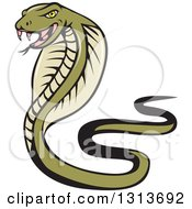 Clipart Of A Cartoon Green Cobra Snake Royalty Free Vector Illustration by patrimonio