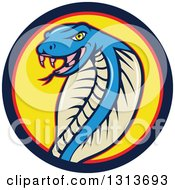 Clipart Of A Cartoon Blue Cobra Snake In A Blue Red And Yellow Circle Royalty Free Vector Illustration