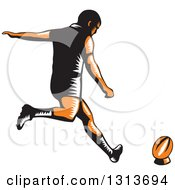 Clipart Of A Retro Woodcut Male Rugby Player Kicking Royalty Free Vector Illustration