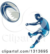 Retro Woodcut Male Rugby Player Kicking 2