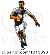 Retro Woodcut Male Rugby Player Running 2