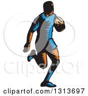 Clipart Of A Retro Woodcut Male Rugby Player Running Royalty Free Vector Illustration by patrimonio