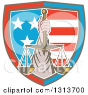 Clipart Of A Retro Hand Holding Up Scales Of Justice In A Shield Of American Stars And Stripes Royalty Free Vector Illustration by patrimonio