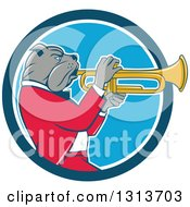 Cartoon Bulldog Musician Facing Right And Playing A Trumpet In A Blue And White Circle