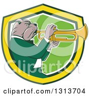 Cartoon Bulldog Musician Facing Right And Playing A Trumpet In A Yellow Green And White Shield