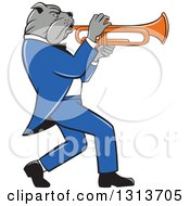 Cartoon Bulldog Musician Facing Right And Playing A Trumpet