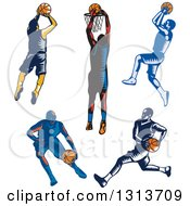 Clipart Of Retro Woodcut Male Basketball Players Dribbling Running And Shooting Royalty Free Vector Illustration