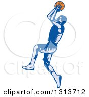 Retro Woodcut Male Basketball Player Jumping And Shooting
