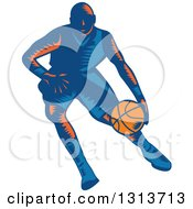Clipart Of A Retro Woodcut Male Basketball Player Dribbling Royalty Free Vector Illustration
