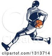 Retro Woodcut Male Basketball Player Running