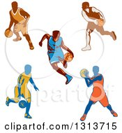 Clipart Of Retro Male Basketball Players Dribbling And Passing Royalty Free Vector Illustration