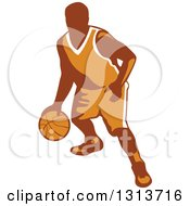 Clipart Of A Retro Male Basketball Player Dribbling Royalty Free Vector Illustration