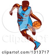 Clipart Of A Retro Male Basketball Player Dribbling 2 Royalty Free Vector Illustration