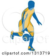 Clipart Of A Retro Male Basketball Player Dribbling 4 Royalty Free Vector Illustration