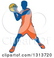 Clipart Of A Retro Male Basketball Player Passing Royalty Free Vector Illustration