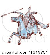 Clipart Of A Brown And Blue Sketched Amazon Valkyrie Wielding A Spear On A Leaping Horse Royalty Free Vector Illustration