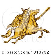 Clipart Of A Brown And Yellow Sketched Amazon Valkyrie Wielding A Sword On A Leaping Horse Royalty Free Vector Illustration