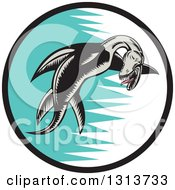 Retro Woodcut Pliosaur Dinosaur Swimming In A Black White And Turquoise Circle