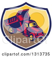 Clipart Of A Retro Woodcut Dump Truck In A Blue White And Yellow Shield Royalty Free Vector Illustration