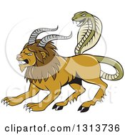 Cartoon Chimera Male Lion With Goat Horns And A Snake Tail