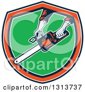 Clipart Of A Retro Mans Hands Holding A Chainsaw In A Navy Blue White Orange And Green Shield Royalty Free Vector Illustration